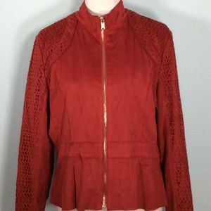 Velvety Soft New York &Co Red Jacket w/Gold Zipper